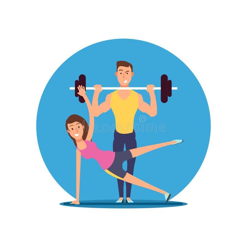Personaggi dei cartoni animati di vettore della persona di divertimento di forma fisica Illustrazione piana di motivazione di spo illustrazione di stock