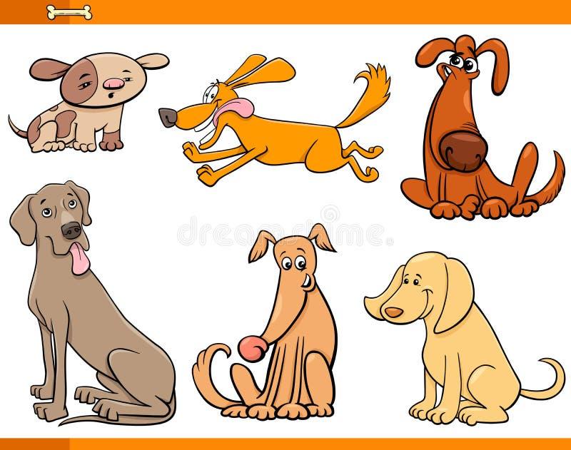 Personaggi dei cartoni animati divertenti dei cani messi illustrazione vettoriale