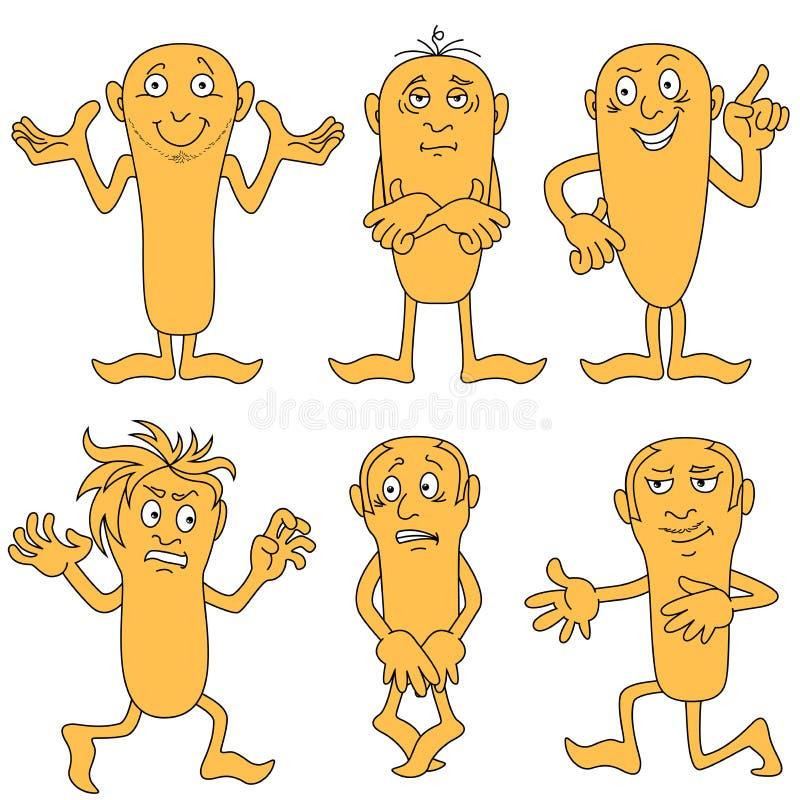 Personaggi dei cartoni animati maschii messi illustrazione di stock