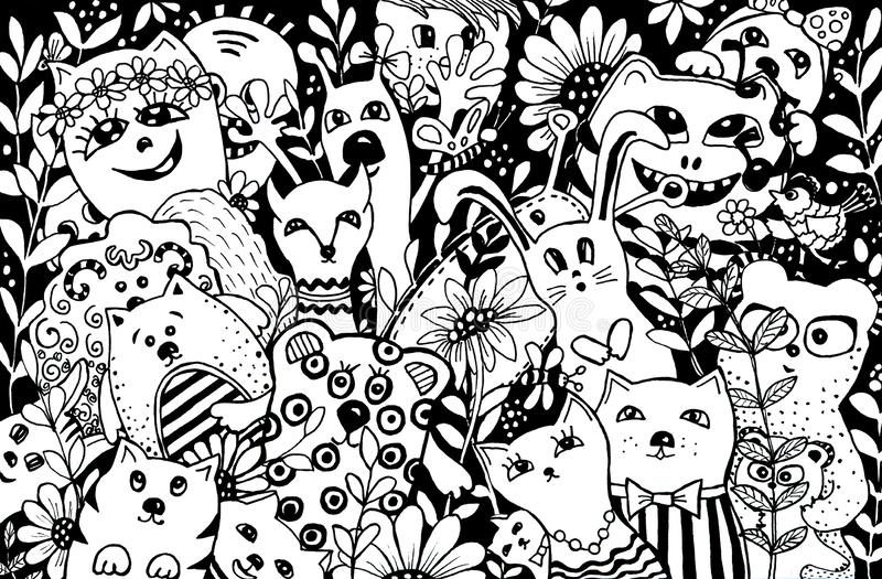 Personaggi dei cartoni animati nello stile del kawaii con l'immagine degli animali, degli uccelli e dei fiori Ambiti di provenien illustrazione di stock