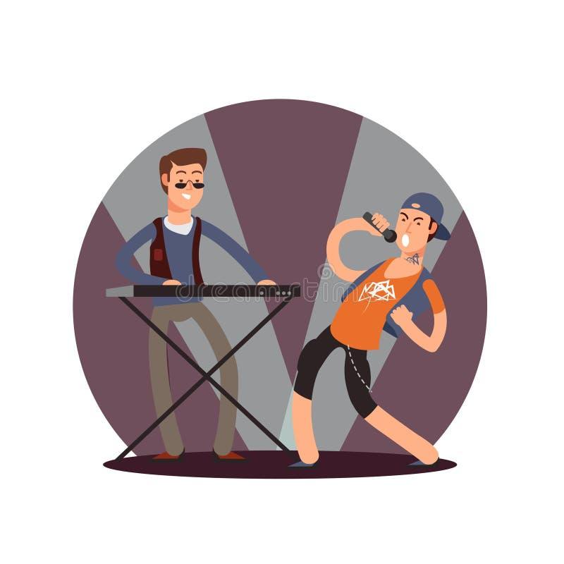 Personaggi dei cartoni animati piani del musicista e del cantante di vettore illustrazione di stock
