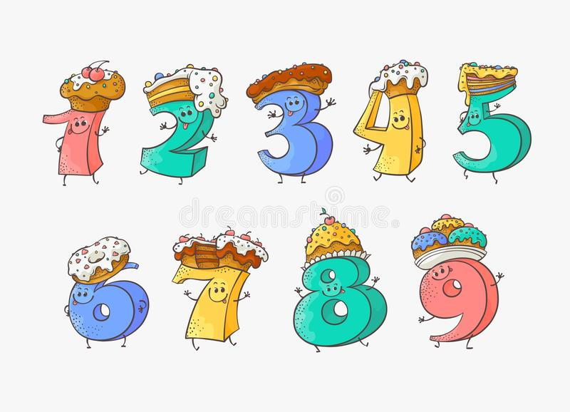 Personaggi dei cartoni animati svegli di numero con i dolci e le torte del dolce per i cappelli messi royalty illustrazione gratis