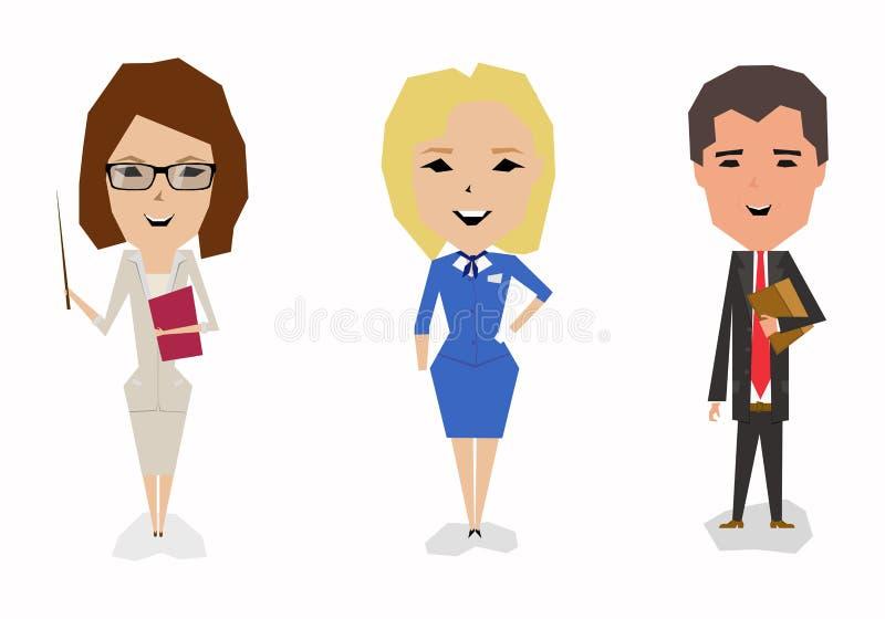 Personaggi dei cartoni animati Un insieme delle professioni Insegnante, hostess, avvocato immagini stock