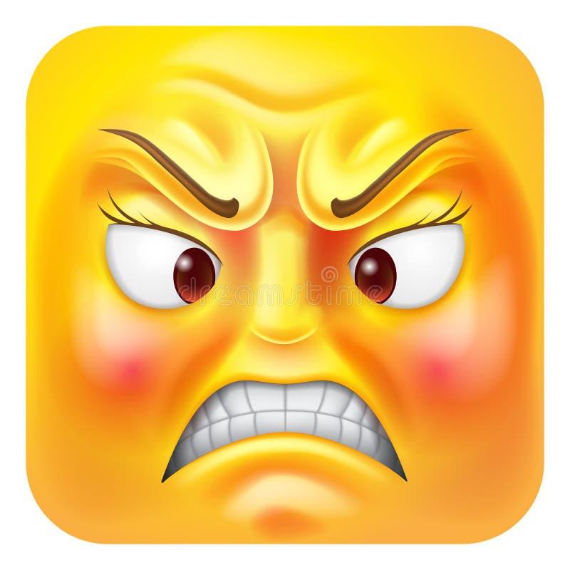 Personaggio dei cartoni animati arrabbiato dell'icona dell'emoticon di Emoji della donna illustrazione vettoriale