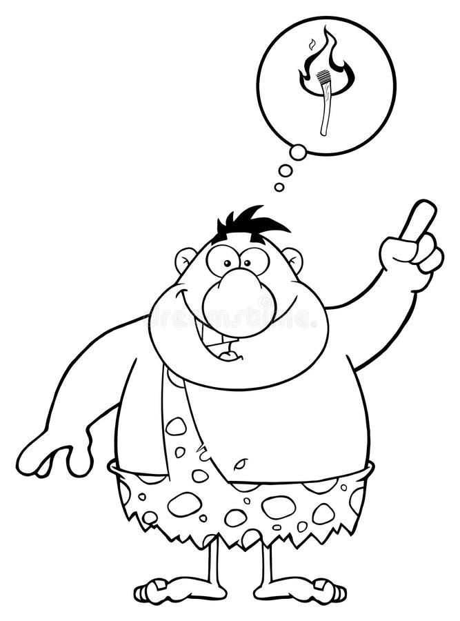 Personaggio dei cartoni animati in bianco e nero del cavernicolo con una grandi idea e fumetto illustrazione vettoriale
