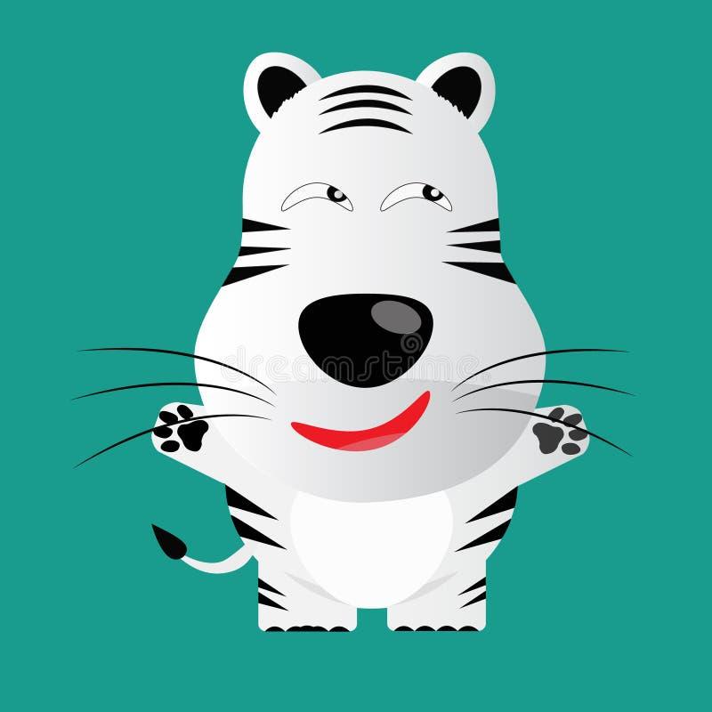 Personaggio dei cartoni animati bianco ingannevole della tigre di Bengala illustrazione di stock