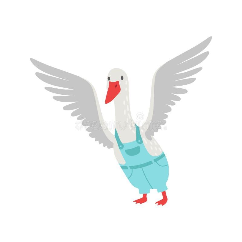 Personaggio dei cartoni animati bianco sveglio dell'oca che agita le sue ali che indossano l'illustrazione di vettore degli in ge illustrazione vettoriale