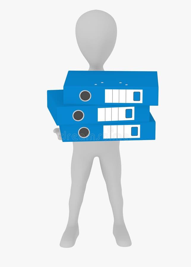 Personaggio dei cartoni animati con gli archivi blu dell