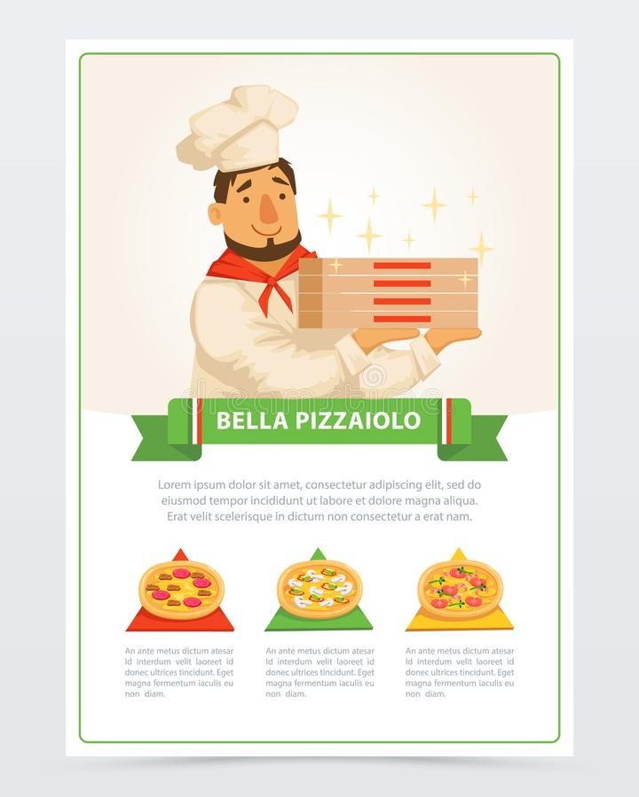 Personaggio dei cartoni animati dei contenitori italiani di pizza della tenuta di pizzaiolo royalty illustrazione gratis
