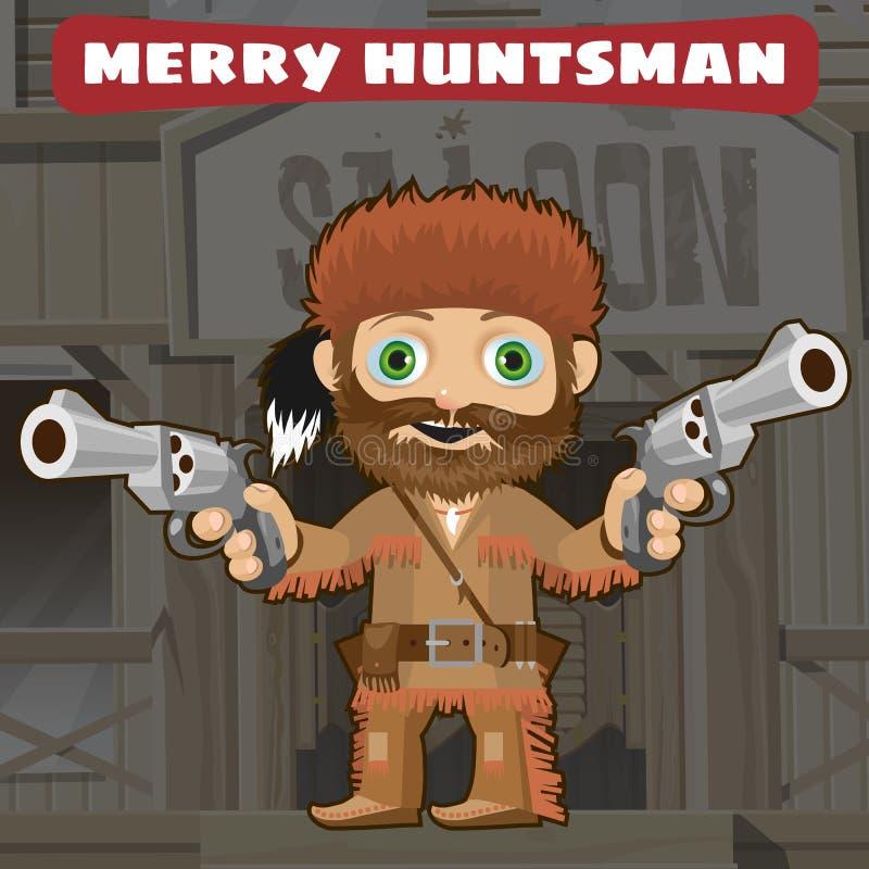 Personaggio dei cartoni animati dei selvaggi West - cacciatore allegro illustrazione di stock