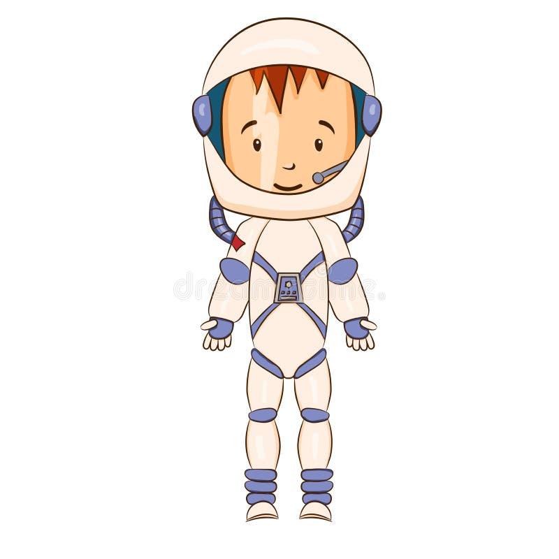 Personaggio dei cartoni animati del cosmonauta illustrazione vettoriale