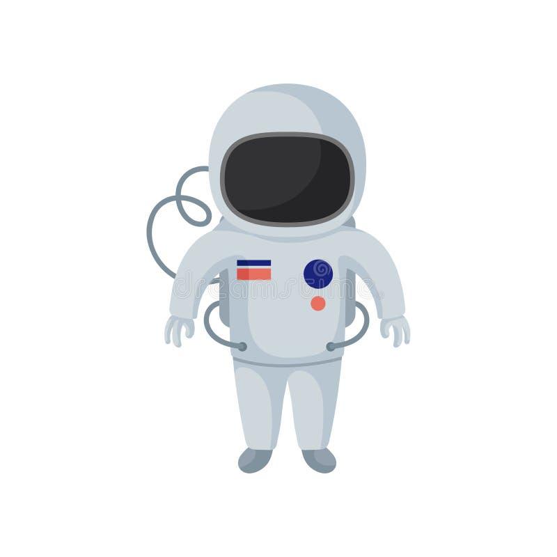 Personaggio dei cartoni animati del cosmonauta Astronauta in tuta spaziale Elemento piano di vettore per la cartolina, il gioco m illustrazione vettoriale