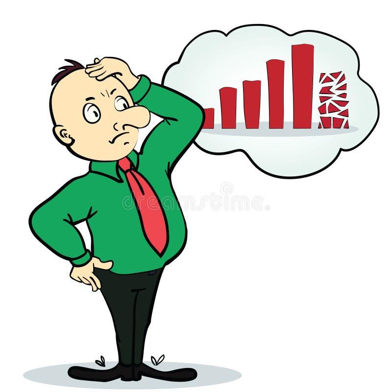 Personaggio dei cartoni animati del diagramma e dell'uomo d'affari persona immagini stock libere da diritti