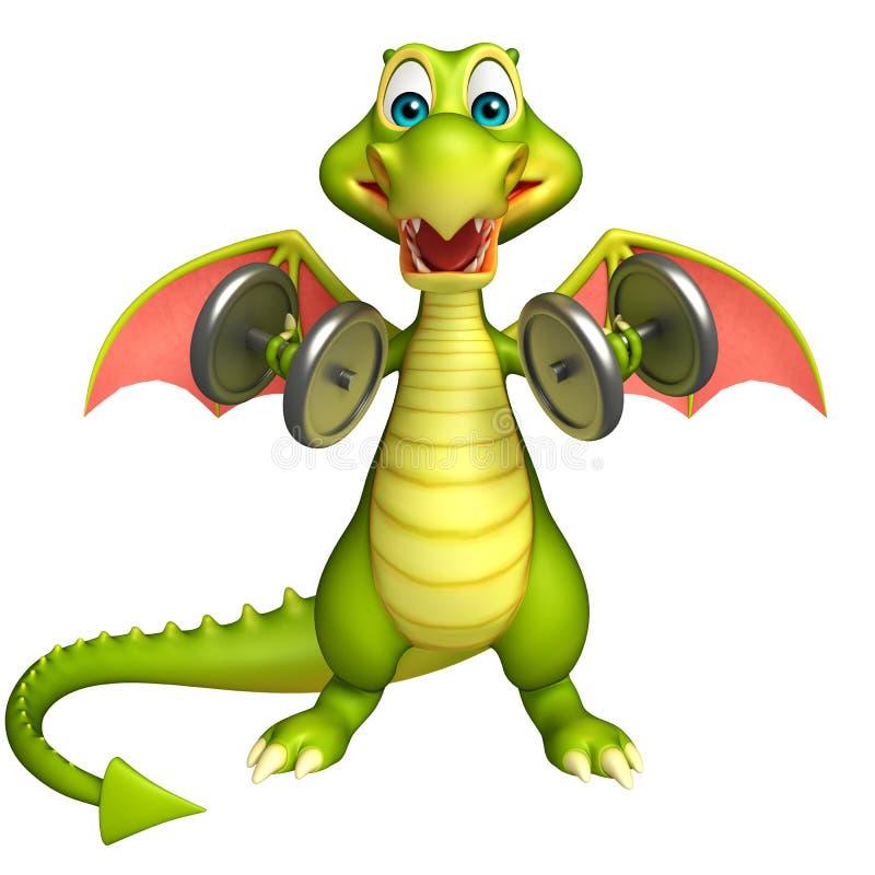 Personaggio dei cartoni animati del drago con l'attrezzatura di Gim illustrazione vettoriale