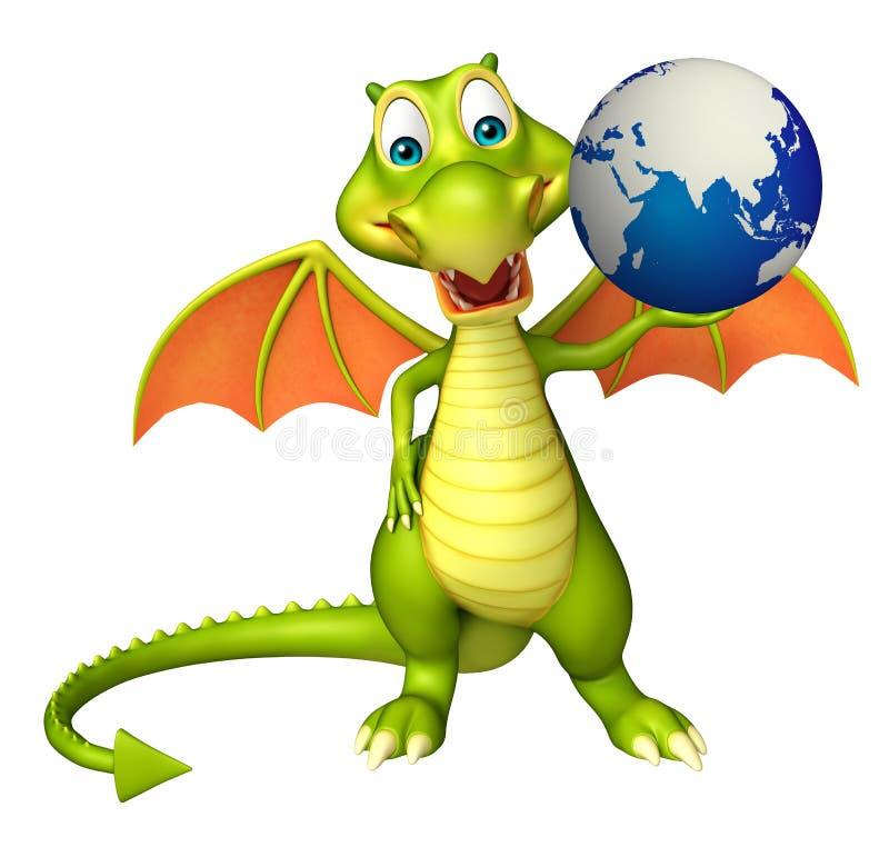 Personaggio dei cartoni animati del drago con terra illustrazione di stock