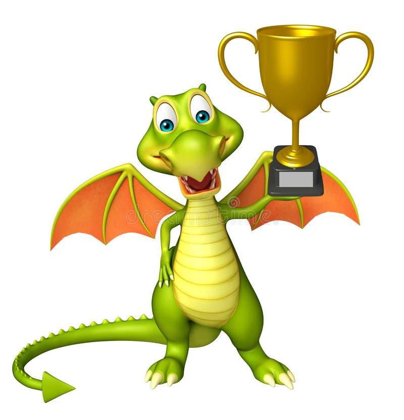 Personaggio dei cartoni animati del drago di divertimento con la tazza di conquista illustrazione vettoriale