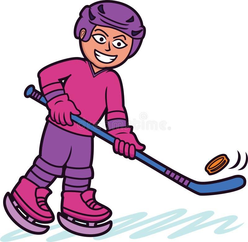 Personaggio dei cartoni animati del giocatore di hockey su ghiaccio royalty illustrazione gratis