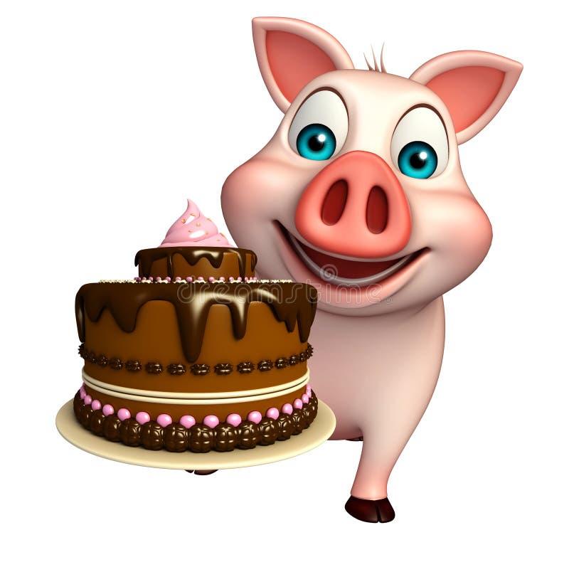 Personaggio dei cartoni animati del maiale con il dolce
