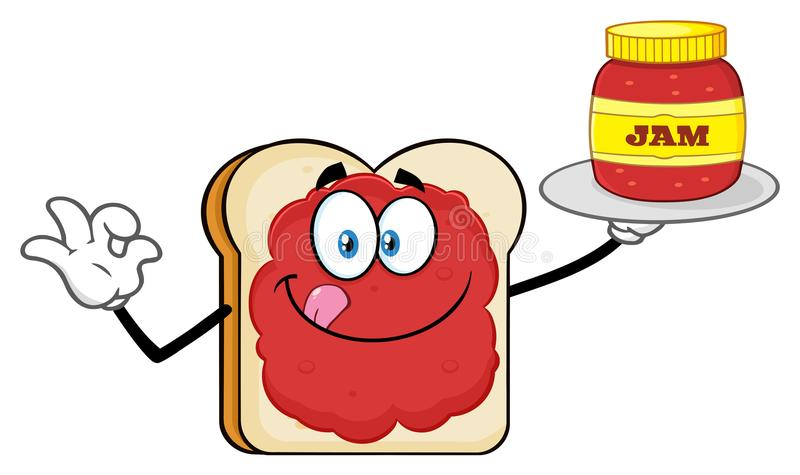 Personaggio dei cartoni animati del pane affettato bianco con inceppamento che tiene un barattolo di inceppamento royalty illustrazione gratis