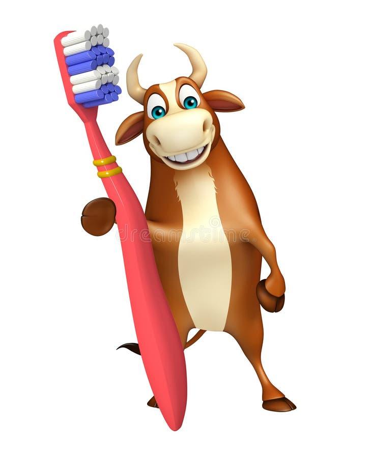 Personaggio dei cartoni animati del toro di divertimento con lo spazzolino da denti illustrazione vettoriale