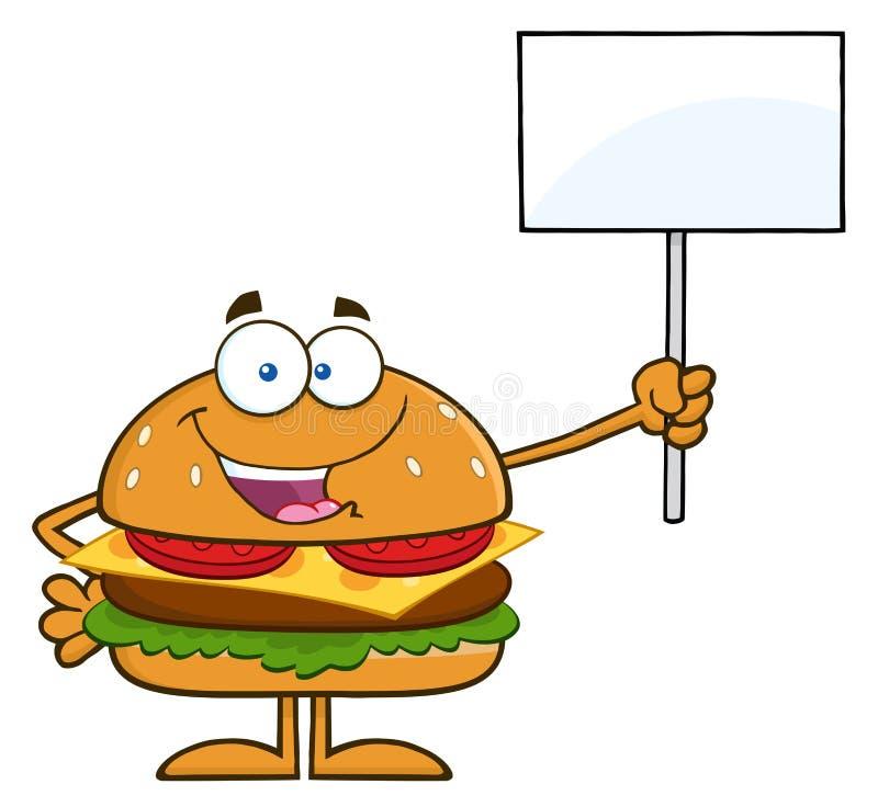 Personaggio dei cartoni animati dell'hamburger che tiene un segno in bianco royalty illustrazione gratis