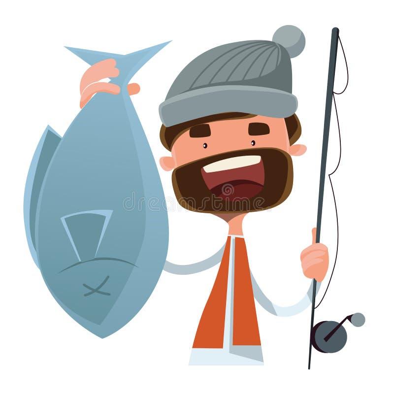 Personaggio dei cartoni animati dell'illustrazione del pesce preso pescatore royalty illustrazione gratis