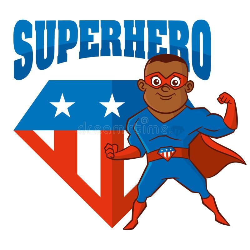 Personaggio dei cartoni animati dell'uomo del supereroe illustrazione di stock