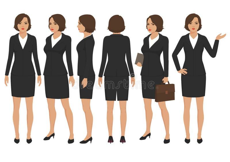Personaggio dei cartoni animati della donna di segretario, parte anteriore, parte posteriore e vista laterale della donna di affa illustrazione di stock