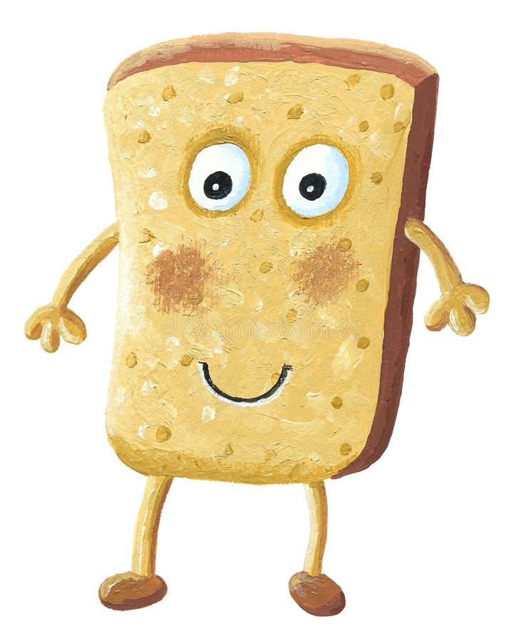 Personaggio dei cartoni animati della fetta del pane del pane tostato illustrazione vettoriale