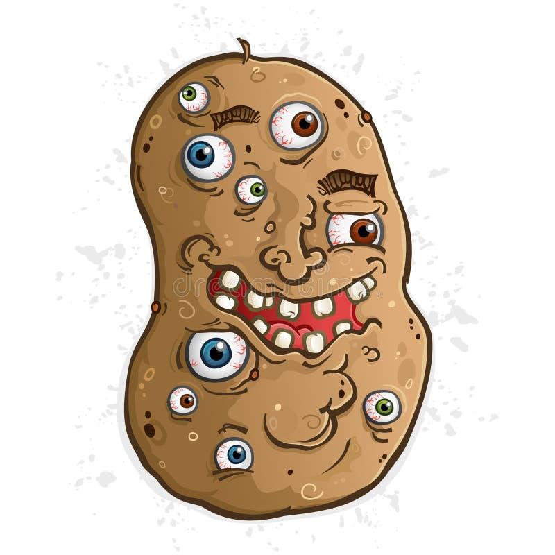 Personaggio dei cartoni animati della patata coperto in bulbi oculari illustrazione di stock