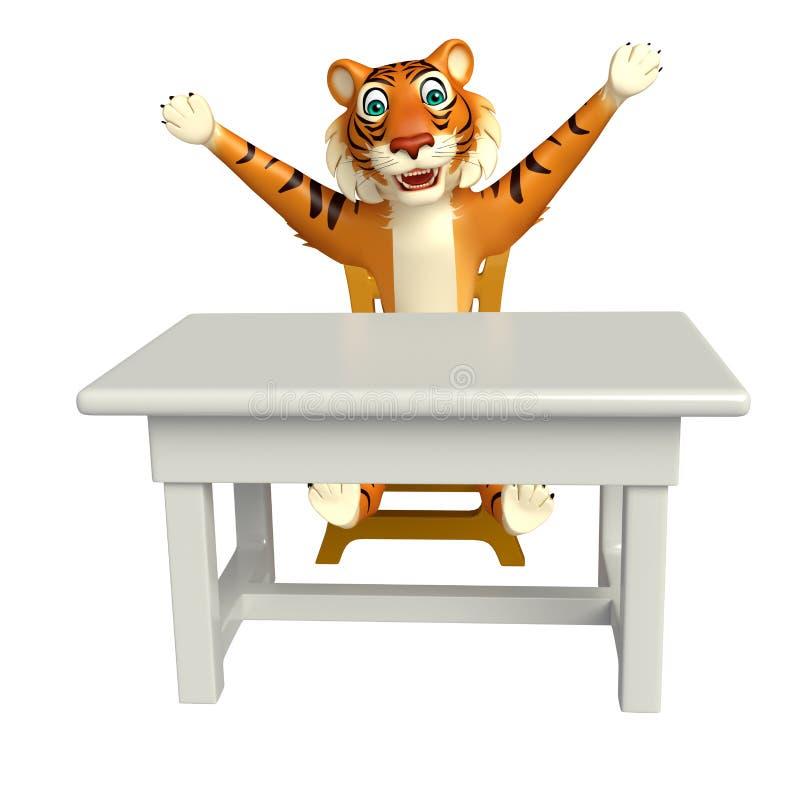 Personaggio dei cartoni animati della tigre con la tavola