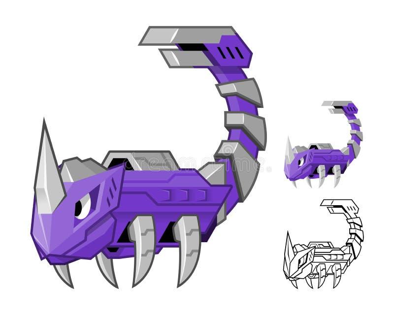 Personaggio dei cartoni animati dello scorpione del robot illustrazione vettoriale
