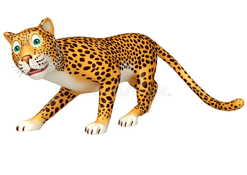 Personaggio dei cartoni animati di camminata sveglio del leopardo illustrazione vettoriale