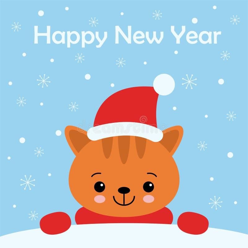 Personaggio dei cartoni animati di Cat Kitten dello zenzero di Natale Un gattino sveglio che sta sul fondo blu Vettore piano di p illustrazione vettoriale