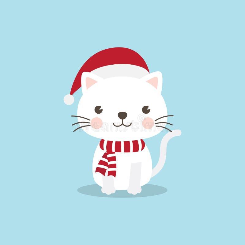 Personaggio dei cartoni animati di Cat Kitten di Natale Un gattino sveglio che sta o illustrazione di stock