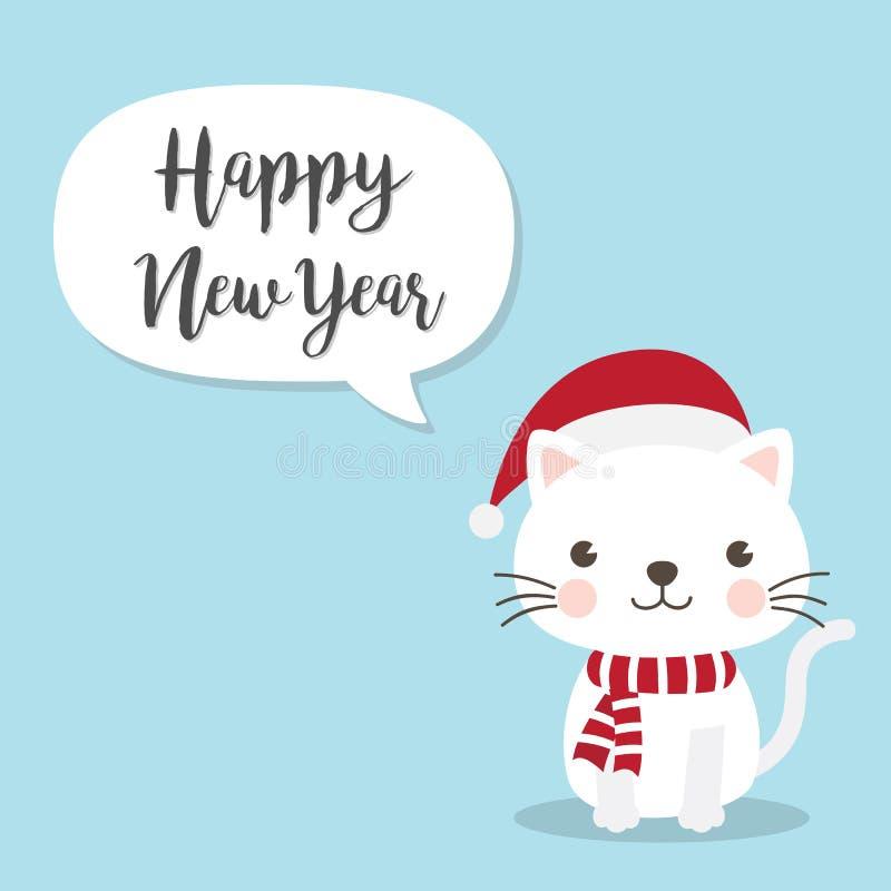 Personaggio dei cartoni animati di Cat Kitten di Natale Un gattino sveglio che sta o royalty illustrazione gratis