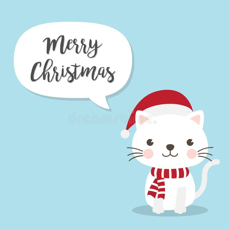 Personaggio dei cartoni animati di Cat Kitten di Natale Un gattino sveglio che sta o illustrazione vettoriale