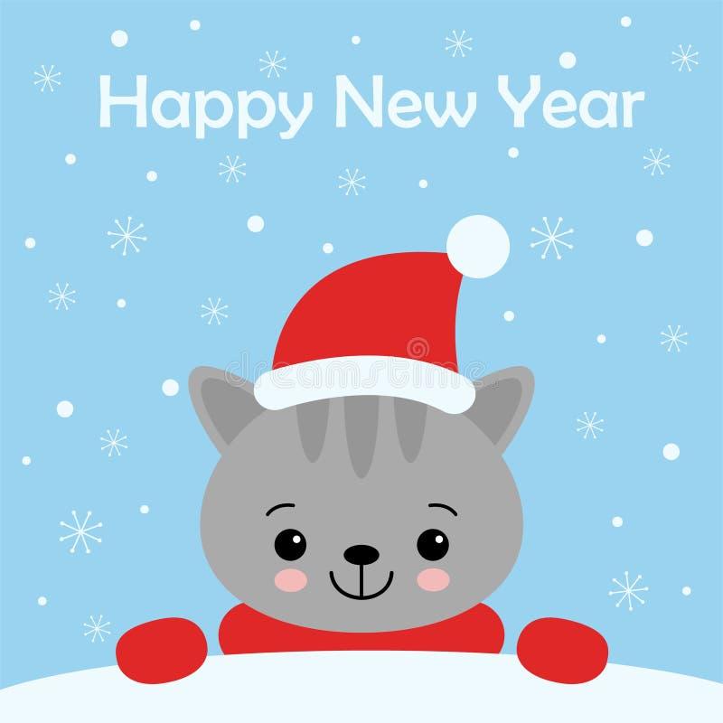 Personaggio dei cartoni animati di Cat Kitten di Natale Un gattino sveglio che sta sul fondo blu Illustrazione piana di vettore d illustrazione di stock