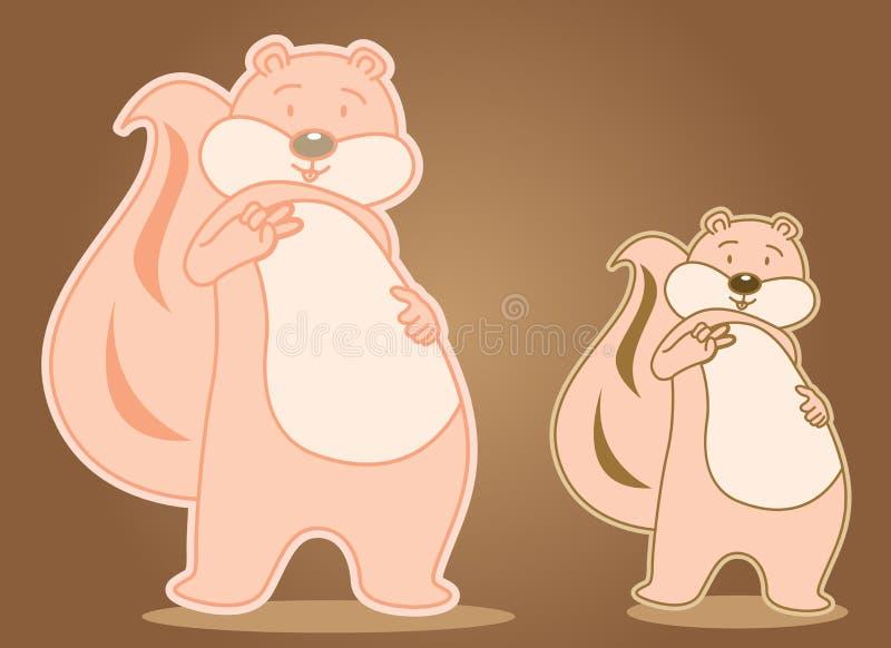 Personaggio dei cartoni animati di divertimento dello scoiattolo sveglio illustrazione vettoriale