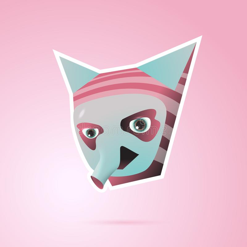 Personaggio dei cartoni animati di fantasia con le orecchie ed il rosa del tronco illustrazione di stock