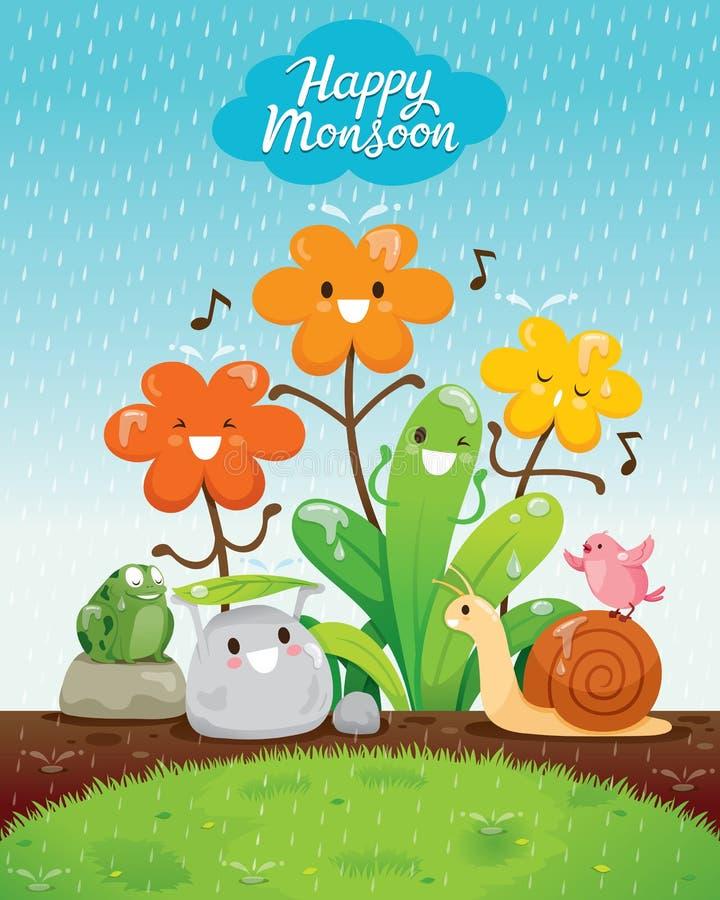 Personaggio dei cartoni animati di felicità degli animali e dei fiori nella pioggia royalty illustrazione gratis