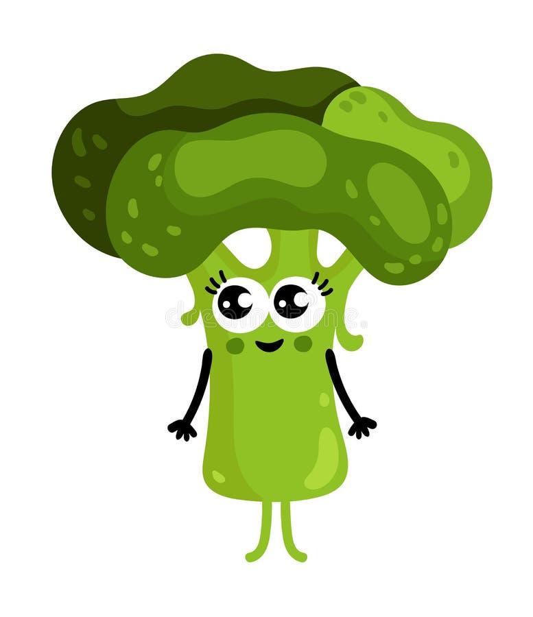 Personaggio dei cartoni animati di verdure divertente dei broccoli illustrazione di stock