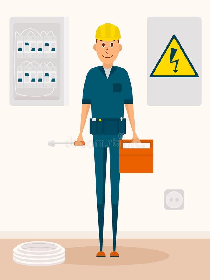 Personaggio dei cartoni animati di vettore dell'elettricista Uomo elettrico di servizio con la cassetta portautensili ed il cacci illustrazione di stock