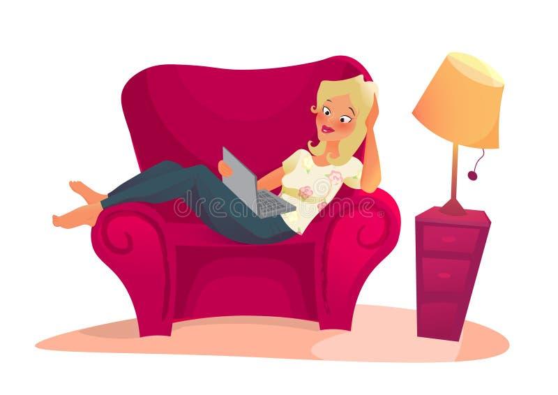 Personaggio dei cartoni animati Distensione della donna royalty illustrazione gratis