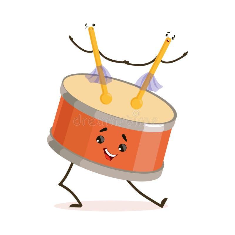 Personaggio dei cartoni animati divertente dello strumento musicale del tamburo che gioca con l'illustrazione di vettore dei bast illustrazione di stock