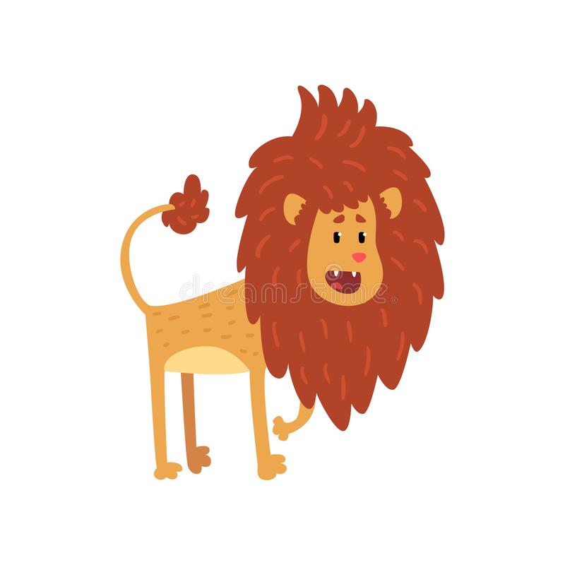 Personaggio dei cartoni animati divertente sveglio del cucciolo di leone con l'illustrazione aperta di vettore della bocca su un  illustrazione di stock