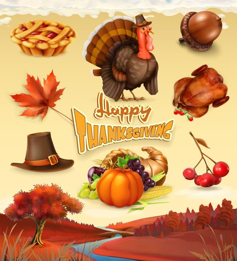 Personaggio dei cartoni animati ed oggetti felici di ringraziamento insieme dell'icona di vettore 3d illustrazione di stock