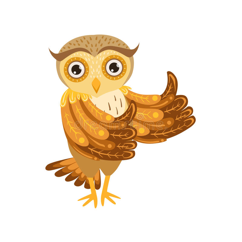 Personaggio dei cartoni animati Emoji di Owl Showing Thumbs Up Cute con Forest Bird Showing Human Emotions e comportamento illustrazione di stock