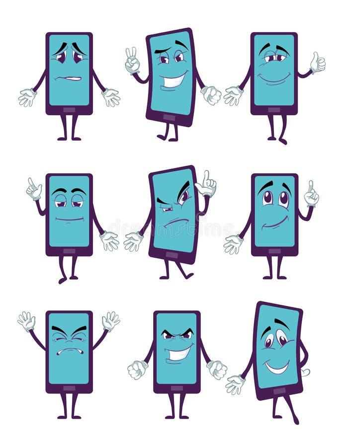Personaggio dei cartoni animati felice dello smartphone con le gambe e le mani in vario insieme di vettore di pose royalty illustrazione gratis