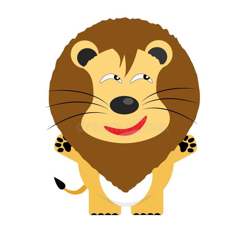 Personaggio dei cartoni animati ingannevole del leone illustrazione di stock